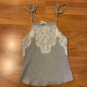 Delicate Grey Lace Top